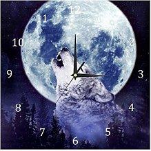 BestIdeas Wall Clocks Wolf Howling Battery