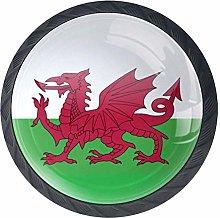 BestIdeas Welsh Flag Round Drawer Knobs Pulls