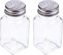 BESTONZON 2PCS Glass Spice Jar Bottle Seasoning