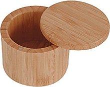 BESTonZON Bamboo Salt Box Natural Bamboo Storage