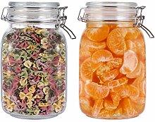 BESTONZON Glass Storage Jars,2pcs Food Storage Jar