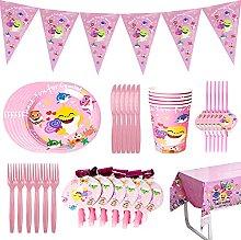 BESTZY 58 Pcs Shark Party Supplies Set, Birthday