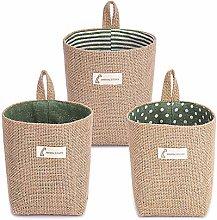BESYLO Cotton Linen Storage Basket Bag, 3pcs