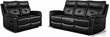 Betos Luxury Black PU Leather 3 + 2 Seater