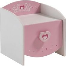 Betsy Wooden Bedside Cabinet In White And Pink