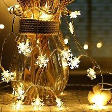BETTE Snowflake String Lights, 6M 40 Pcs Battery