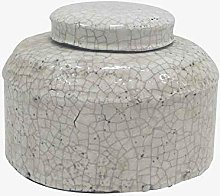 Better & Best Large Low Canister, White, Crackle