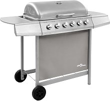 Betterlifegb - Gas BBQ Grill with 6 Burners Silver