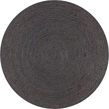 Betterlifegb - Handmade Rug Jute Round 120 cm Dark