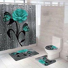 Betterlifegb - Pink Shower Curtain Free Set Shower