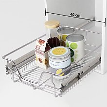 Betterlifegb - Pull-Out Wire Baskets 2 pcs Silver