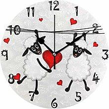 BEUSS Art White Heart Sheeps Circular Wall Clock