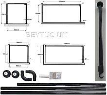 beytug Black Shower Curtain Rail/Rod, 4 way use,L