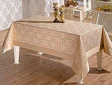 beytug Large Luxury Polycotton Beige Tablecloth