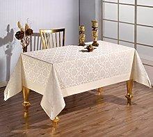 beytug Large Polycotton Cream Tablecloth with