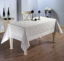 beytug Large Polycotton White Tablecloth with