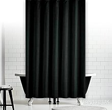 beytug Plain Black Fabric Shower Curtain, Extra
