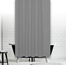 beytug Plain Grey Fabric Shower Curtain, Extra