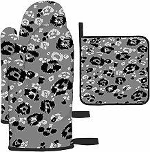 Bgejkos Gray Animal Print Oven gloves Waterproof