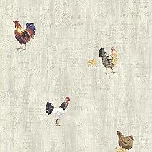 BHF CTR64211 Lisle Grey Roosters & Script Wallpaper