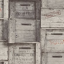 BHF FD22349 Reclaimed Wood Crates Grey Wallpaper