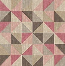 BHF FD22622 Geometrie Squares Pink/Brown Wallpaper