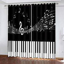 BHOMLY Black piano notes curtains for living room