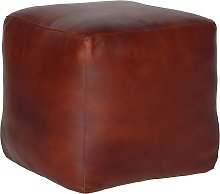 bhp 422970  Pouffe Cube-Shaped Brown Leather