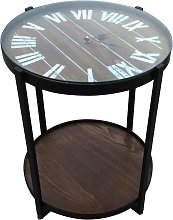 bhp Side Table with Clock Brown Wood and Iron