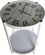 bhp Side Table with Clock White Wood and Iron