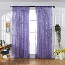 BHYDRY Christmas Snowflake Curtain, Tulle Window
