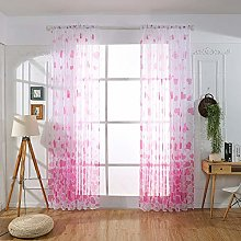BHYDRY Heart Shaped Curtain, Tulle Window