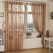 BHYDRY Thin Window Sheer Curtain Leaves Tulle
