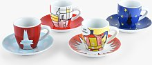 Bialetti Art Espresso Coffee Cup & Saucer, Set of