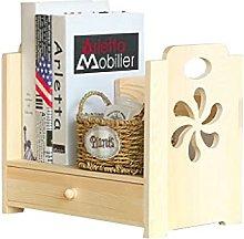 BIAOYU Solid Wood Desktop Bookshelf with Drawer
