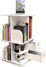 BIAOYU Wooden Desktop Bookshelf with 2 Drawers