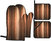 BIBOZHAO 4Pcs Oven Mitts and Pot Holders Set,Brown