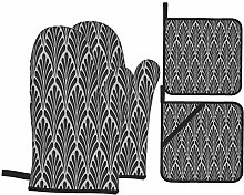 BIBOZHAO Oven Mitts and Potholders 4pcs Sets,3d