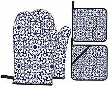 BIBOZHAO Oven Mitts and Potholders 4pcs Sets,Blue