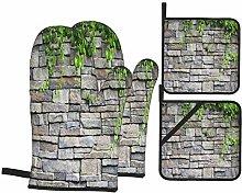BIBOZHAO Oven Mitts and Potholders 4pcs Sets,Brick