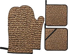 BIBOZHAO Oven Mitts and Potholders 4pcs Sets,Brown