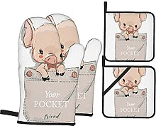 BIBOZHAO Oven Mitts and Potholders 4pcs Sets,Cute