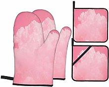 BIBOZHAO Oven Mitts and Potholders 4pcs Sets,Pink