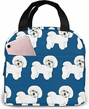 Bichon Frise On Navy Fabric Lunch Bag, Large