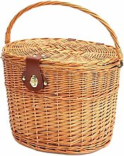 Bicycle Basket,Multi-Functional Wicker Covered