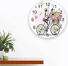 Bicycle Girl Flowers Cartoon Printed PVC Wall