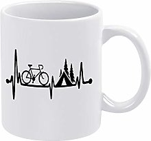 Bicycle Tent Camping Heartbeat Ceramic Coffee Mug