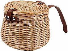 Bicycle Wicker Basket Shopping Bag with LID Bike