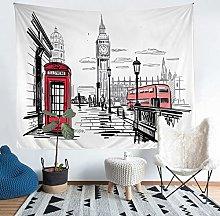 Big Ben Wall Blanket Telephone Booth Print