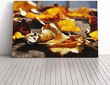Big Box Art Canvas Print Wall Art Autumn Leaves on